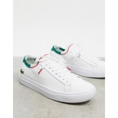 ラコステ メンズ スニーカー シューズ Lacoste La Piquee knitted sneakers in white with green White