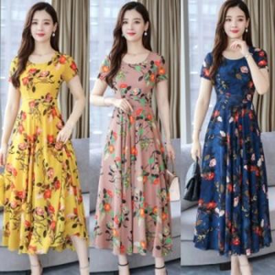 女性の夏の緩いラウンドカラーロング花柄半袖ドレス