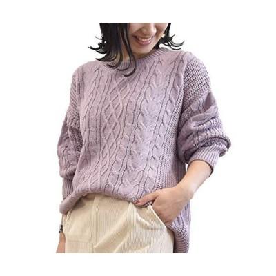 [アドティエ] ケーブル編み ニットセーター ゆったり 長袖 クルーネック 畔編み トップス レディース 19505001 ラ
