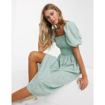 インフルエンス Influence レディース ワンピース ミドル丈 ワンピース・ドレス Puff Sleeve Midi Dress With Shirring In Mint Retro Floral ミントフローラル