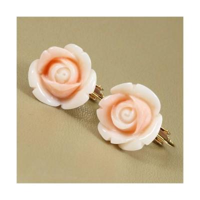 桃珊瑚 イヤリング 薔薇 花 K18 イエローゴールド 無染色 JUNSUI