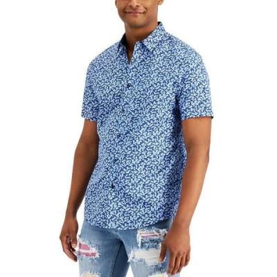 アイエヌシーインターナショナルコンセプト シャツ トップス メンズ INC Men's Brit Ditsy Short Sleeve Shirt, Created for Macy's Navy Bud Combo