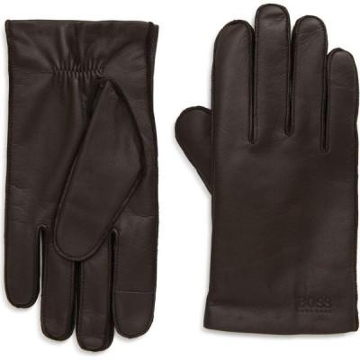 ヒューゴ ボス BOSS メンズ 手袋・グローブ Kranton Leather Gloves Open Brown