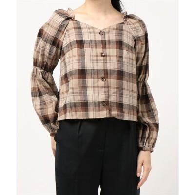 シャツ ブラウス Backリボン2段ボリューム袖/ブラウス