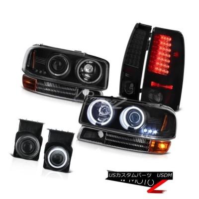 ヘッドライト 04 05 06 GMC Sierra Black CCFLリングヘッドライトティンテッドLEDテールライトプロジェクターフォグ 04