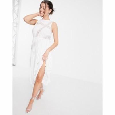 エイソス ASOS DESIGN レディース ワンピース ミドル丈 ワンピース・ドレス Lace Insert Pleated Midi Dress With Drawstring Waist In W