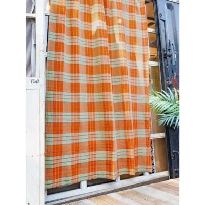 【チャイハネ】マサイシュカ風ベッドカバーシングルサイズ マルチクロス オレンジ