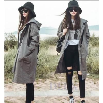 トレンチコート レディース スプリングコート フード付き 秋 ロング丈 UVカット アウター コート
