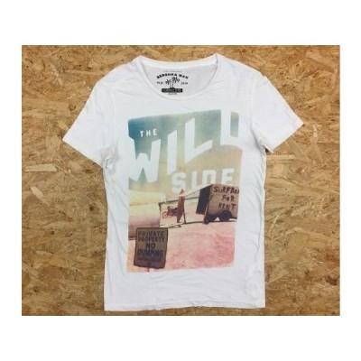 BERSHKA MAN ベルシュカマン XSサイズ メンズ Tシャツビーチ サーフボード 英字 フォト ビッグプリント カットソー 半袖 ラウンドネック 白