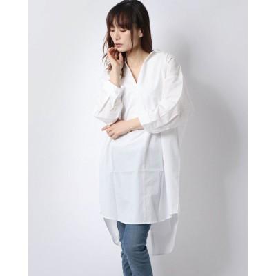 ラナン Ranan バックデザインロング丈シャツ (オフホワイト)