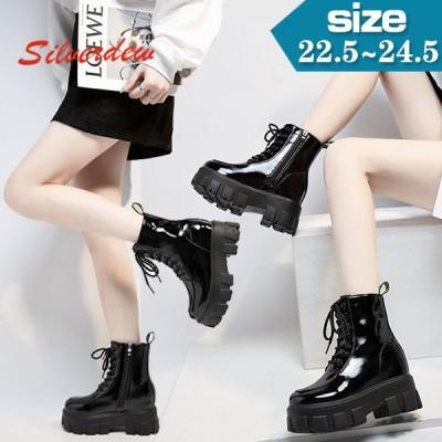 レディース マーティンブーツ 靴 美脚 秋冬インヒール厚底シューズファッション人気着痩せ歩きやすいショートブーツ