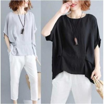 予約商品 大きいサイズ レディース夏新作 トップス シャツ Tシャツ カットソー シンプル 夏新作 ゆったり 体型カバー オーバーサイズ 大