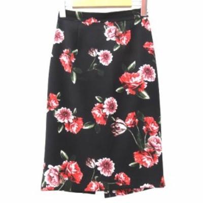 【中古】ピンキー&ダイアン ピンダイ イングリッシュガーデンプリント タイト スカート 花柄 34 XSサイズ 黒 ブラック