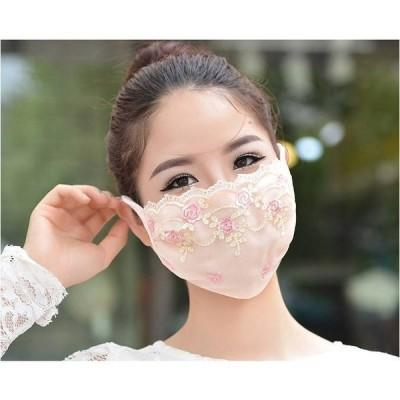 大人冷感レースマスク レディース春夏用 通気性 防護 飛沫対策 洗える洗濯