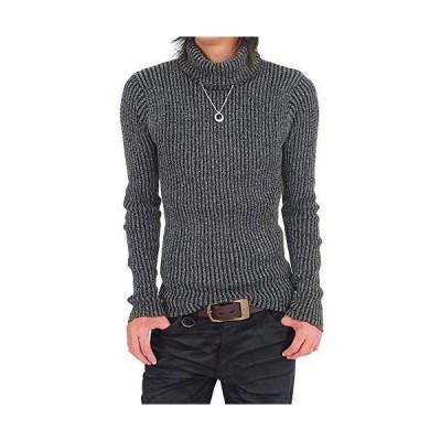 (エムシー) MC メンズ ニット メンズ通販 セーター タートルネック 杢調リブニット タイト メンズ服 メンズ L 2-グレー