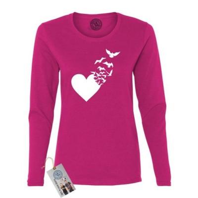 レディース 衣類 トップス Valentines Day Heart Birds Womens Long Sleeve Tシャツ