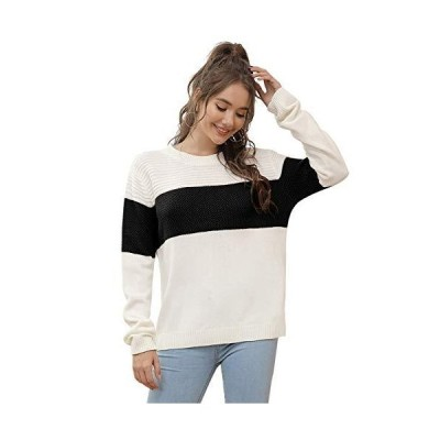 並行輸入品Kate Kasin レディース カラーブロック 長袖 リブ編みニット オーバーサイズ プルオーバー セーター US サイズ: Small