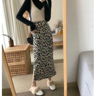 レオパード スカート ロング ハイウエスト タイト スリット ゆったり カジュアル 大人可愛い 韓国 オルチャン ファッション