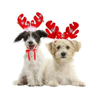 2 Pack Reindeer Antlers Headbands for DogsCute Girl Dog Christmas Costume