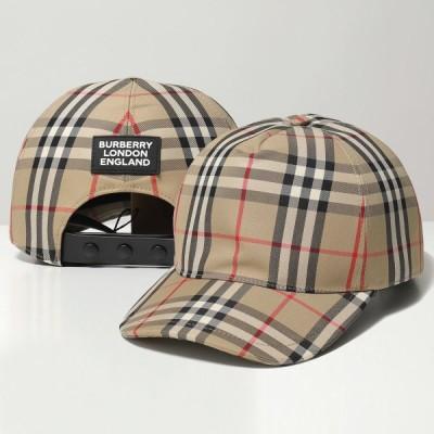【訳有】BURBERRY バーバリー 8021444 バーバリーチェック ベースボールキャップ 帽子 ラバーロゴ ARCHIVE-BEIGE メンズ