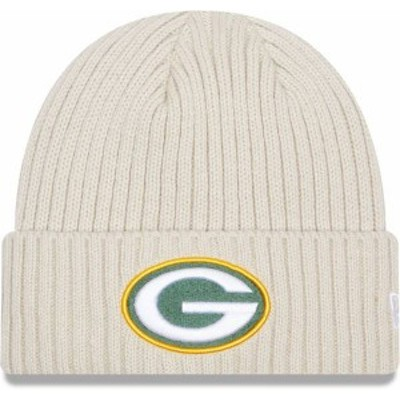 ニューエラ メンズ 帽子 アクセサリー New Era Men's Green Bay Packers Core Cuffed Knit White Beanie -