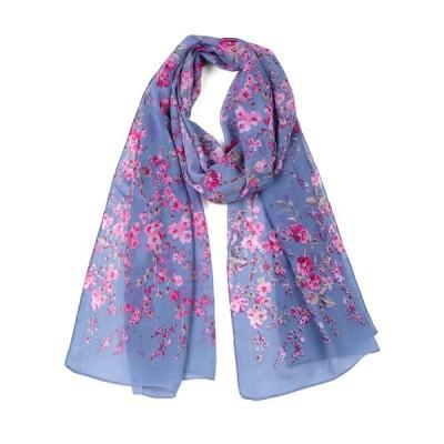 uxcell ロングスカーフ シフォン ショール ビーチ シルク スカーフ 花柄 デニムブルー 16x5cm