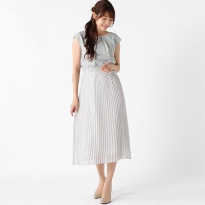 襟元パーツ使いプリーツドレス【フォーマルにも◎】(trattoria)