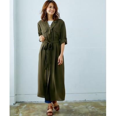 【Answer to 40】体型カバーも叶うシャツワンピース(共布ベルト付) (ワンピース)Dress
