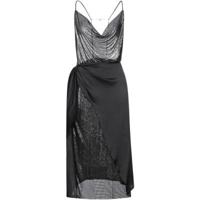 パコ ラバンヌ PACO RABANNE 7分丈ワンピース・ドレス ブラック 36 アルミニウム 100% / ポリエステル 7分丈ワンピース・ドレス