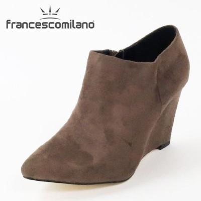 フランチェスコミラノ ウェッジヒールブーティー靴 レディース フェイクスウェード