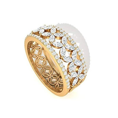 Daisy IJ-SI カラー クラリティ ダイヤモンド フラワー バンド リング、IGI 認定 パヴェ ダイヤモンド エタニティリング、マザーズバー