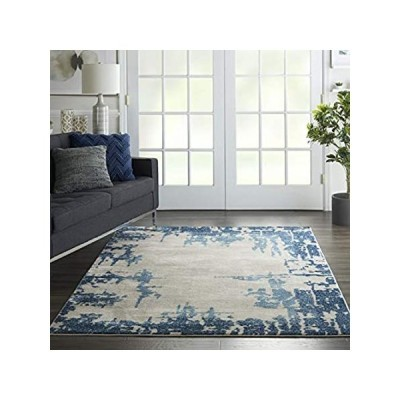 特別価格Nourison Imprints Ivory/Blue Abstract Area Rug 4' x 6', 4'X6',好評販売中