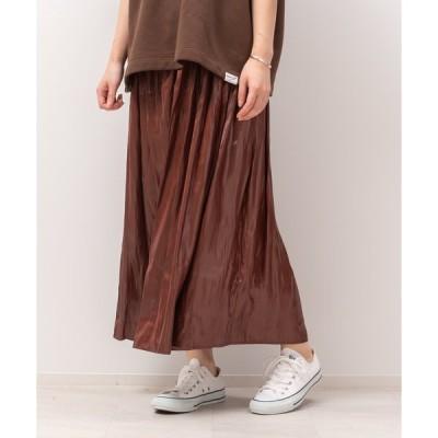 スカート レザーライクサテンギャザースカート