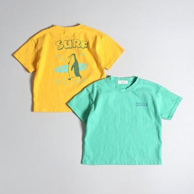 Hyvaa ペンギンサーファーバックプリントTシャツ-マスタード-13/130cm