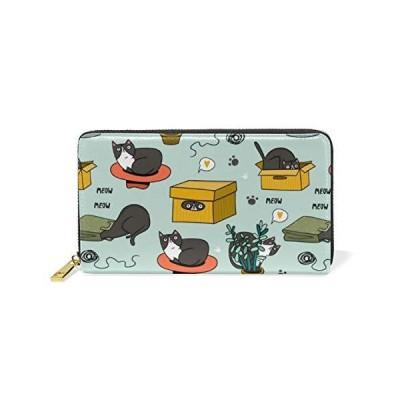 長財布 二つ折り 猫 かわいい 面白い 水色 レディース メンズ 人気 おしゃれ さいふ 小銭入れ ラウンドファス?