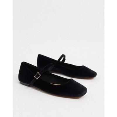 エイソス ASOS DESIGN レディース スリッポン・フラット シューズ・靴 Late mary jane ballet flats in black velvet ブラックベルベット
