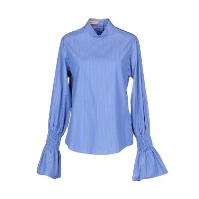 MAGGIE MARILYN ストライプ柄シャツ ファッション  レディースファッション  トップス  シャツ、ブラウス  長袖 ブルー