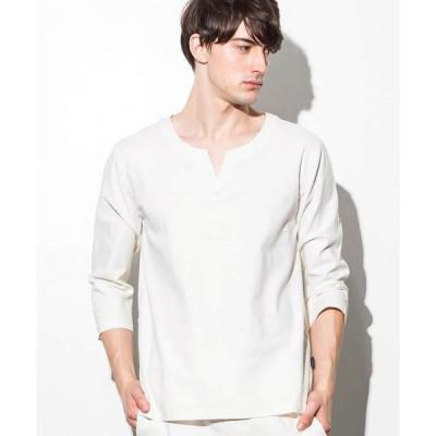 シャツ ブラウス ストレッチリネンキーネックシャツ