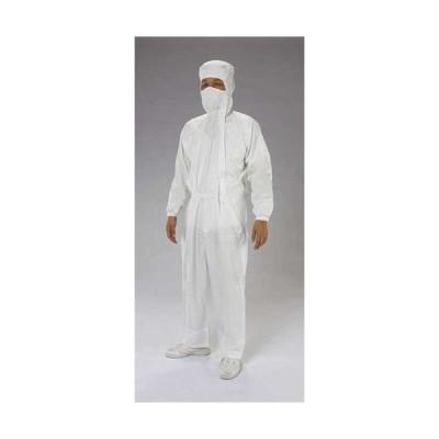 L クリーンルーム用フード付継ぎ服(白/サイドファスナー) EA996DC-2