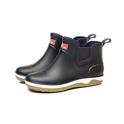 [Side3] レインブーツ ショート丈 長靴 サイドゴア (ブラック measurement_25_point_5_centimeters)