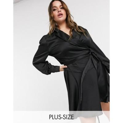 ローラ メイ Lola May Curve レディース ワンピース ラップドレス ワンピース・ドレス Wrap Dress With Ruffle Detail In Black ブラック