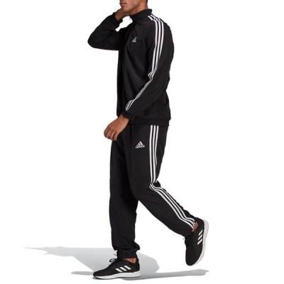 adidas アディダス AEROREADY エッセンシャルズ レギュラーフィット 3ストライプス トラックスーツ メンズ 2021年春夏 ジャージ セットアップ ブラック GK9950