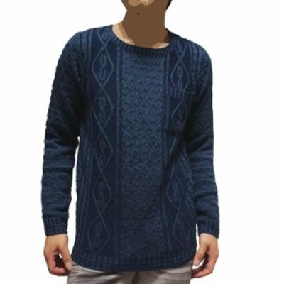 【送料無料・送料込】LUKA&jean フィッシャーマンセーター 胸ポケット付 ニットクルーセーター ケーブル織