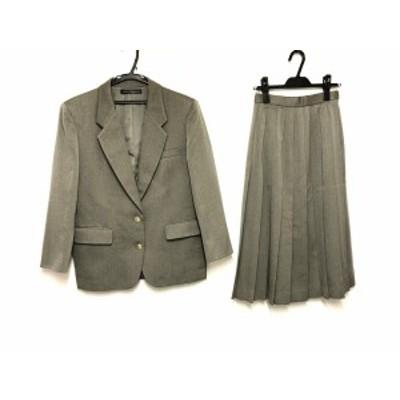 ニューヨーカー NEW YORKER スカートスーツ サイズ9 M レディース カーキグレー LadiesTraditional/プリーツ【還元祭対象】【中古】20200