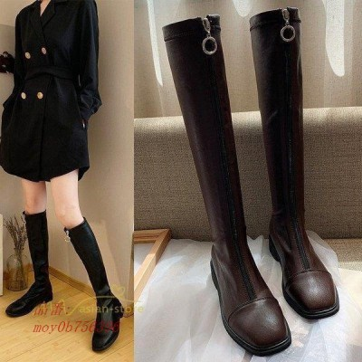 レディース ロングブーツ ストレッチブーツ シンプル 女性用 人気 歩きやすい 通勤通学 靴  履きやすい 脚長効果 お出かけ 痛くない 太めヒール 美脚