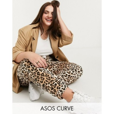 エイソス レディース カジュアルパンツ ボトムス ASOS DESIGN Curve oversized sweatpants in leopard print