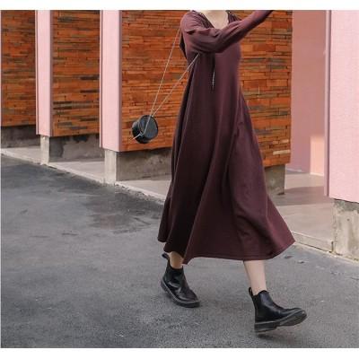 [55555SHOP]早秋 新しいデザイン ファッション アンティーク調 着やせ ニット ワンピース レディース 長袖 編み物 マキシワンピース