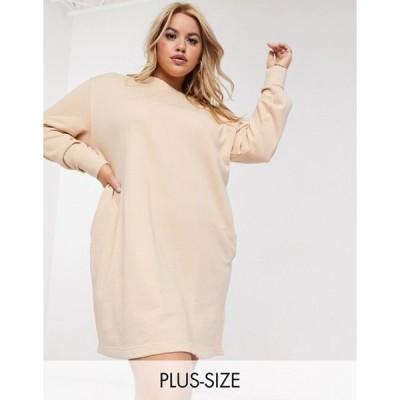 ナイキ レディース ワンピース トップス Nike Plus washed jersey sweater dress in beige