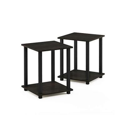 Furinno 12127EX/BK Simplistic End Table Espresso/Black Set of 2 by Furinno