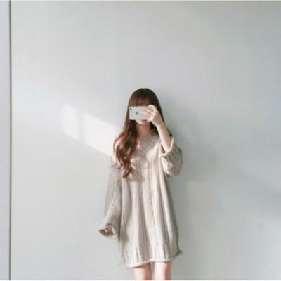Vネックニットワンピース海外 韓国 韓国ファッション 韓国スタイル レディース トレンド 秋冬 秋